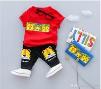 Wholesale white suits for infants resale online - HOT SELL New Style Children s Clothing For Boys And Girls Sports Suit Baby Infant Short Sleeve Clothes Kids Set Age