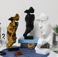 estatuas en casa al por mayor-Creativas y abstracta de los hombres Figura Estatuas Esculturas, guardar silencio Figura, El pensador estatua y escultura para el hogar Sala de estar Tabla Deco