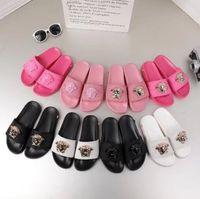 sandalias de goma para mujer al por mayor-Diseñador de goma de la diapositiva de la sandalia de brocado Floral de los hombres zapatillas Pantalones de chancletas mujeres rayas playa causal zapatilla US6-11 # 026