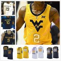 ouest basket maillot achat en gros de-Personnalisé College West Virginia WVU Basketball Jersey Derek Culver Jermaine Haley Emmitt Matthews Jr. Miles McBride Harler Knapper Sherman Tshi