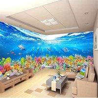 muralas subaquáticas 3d para paredes venda por atacado-Papéis De Parede HD Home Decor Underwater Baleias Mundiais 3D Foto Wallpapers para Sala de estar TV Fundo Paredes Murais de Parede Espaço 3D