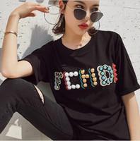 бисер вышивка t рубашка оптовых-Fashion New Luxury Дизайнерская футболка весна-лето женская вышивка Блестки Тис граффити письмо BB из чистого хлопка с коротким рукавом Футболка