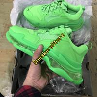 en iyi moda ayakkabıları toptan satış-2019 Moda Koyu Yeşil Üçlü S Baba Ayakkabı En Kaliteli Üçlü-S Rahat Ayakkabılar Eğitmen zapatos Bej Siyah Erkekler Kadınlar Rahat Ayakkabılar Spor 35-45
