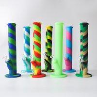 silicona de envío al por mayor-14.2 pulgadas Silicona Bongs Tubería de agua de silicona Bongs de vidrio con 8 colores Plataformas de aceite de silicona Tubo de fumar Tubería de vidrio Envío gratis