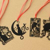 siyah kedi mektubu toptan satış-14 Adet / Kitaplar Notebook Tab Kitap Mark Kırtasiye Okul için çok Cartoon Kara Kedi Metal imleri Marcador De Livro Y19062803 Malzemeleri