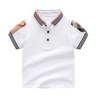 düz renkli gömlek çocukları toptan satış-Perakende Yaka Katı Renk Bebek Erkek T Shirt Yaz Çocuk Erkek Kız T-Shirt Elbise Pamuk Toddler Üstleri Toddler Kız Gömlek Kızlar için Gömlek