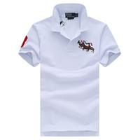 t-shirts ralph großhandel-Heißer Verkauf Ralph Polo Shirt 5 Farbe 100% Herren Luxus Designer Shirts Marke Designer Shirt Mode Luxus gedruckt Shirts Casual Street T-Shirt