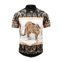 Wholesale pink brown leopard print resale online - 2019 Men s Shirt French Street Fashion Harajuku Casual Shirt Men s Medusa Black Gold Tiger Leopard Fancy Slim Shirt