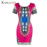 afrikanische drucke meerjungfrau kleider großhandel-Ethnic style African Frauen Traditionelle Print Dashiki Bodycon Kleider Sexy Lady Kurzarm Kleid Vestidos Kleid Femmine Dec26 # 394699