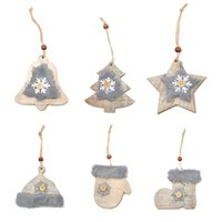 Wholesale pattern wood buttons resale online - WS New Pattern Christmas Tree Star Bell Wood Wool Drill Pendant Hat Gloves Boots Snow Button Ornaments