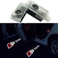 sombra de fantasma audi al por mayor-Fácil instalación Puerta del coche LED Logo Proyector Ghost Shadow Lights para Audi Juego de 2 piezas con cable adaptador Para AUDI a3 a4 b6