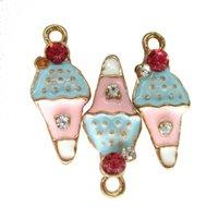 luces de helado al por mayor-15pcs / lot de joyas colgantes del encanto del helado Luz Dorada Multicolor esmalte rosado del Rhinestone de bricolaje artesanal Accesorios