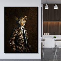 große schwarze weiße gemälde großhandel-Schwarz und Weiß Noble Lion Tiger Elefant Giraffe Art Wolf Pferd Wand-Kunst Gemälde auf Leinwand Tier trägt einen Hut-8 Große Malerei 191003