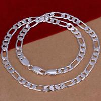 1mm halskette seil kette großhandel-12 MM Halskette 925 Sterling Silber Figaro Kette 16-24 Zoll Halskette Mit Hochwertigen Ketten Hip Hop Halsketten