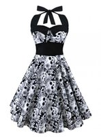 ingrosso sexy pin up-Plus Size Donna Abito floreale Skull Stampa Off Spalla Sexy Gonna Halter Vintage Hepburn Style Nuovo Pin Up Rockabilly Vestido Swing Blouse