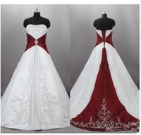 vermelho vermelho casamento vestido varredura trem venda por atacado-2019 novo strapless cetim bordado vermelho e branco vestidos de casamento zuhair murad lace up com sweep trem nupcial vestidos de casamento custom made