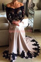 Wholesale gold evening dresses online - Fashion Applique Long Sleeve Sheer Evening Dresses Illusion Lace African Prom Formal Guest Dress Pageant Celebrity Plus Size Party Gowns