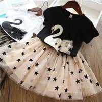 schwarze punktkind-sommerkleid groihandel-Mädchen Kleidung Sets 2019 Sommer Prinzessin Mädchen Bling Star Flamingo Top + Bling Star Kleid 2er Set Kinder Kleidung Kleider