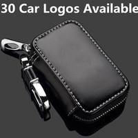 Wholesale vehicle emblems resale online - 10pcs Leather Car Emblem Key Wallet Holder Case For Auto Keychain Vehicle Badge Store Promotion Gift Brown Black CNYOWO