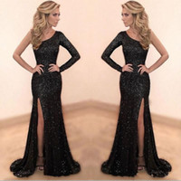 Wholesale mermaid prom dresses for sale - Sparkly Black Sequined Prom Dresses Custom Made One Shoulder Mermaid Long Party Dress Sexy Side Slit Evening Gowns robe de soiree