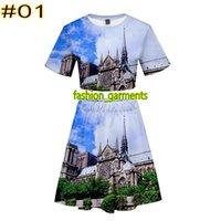 Wholesale fashion dress for sale - Brand New Notre Dame de Paris Print Short Skirt Set Ladies Short Sleeve Short Skirt Set Fashion Summer Womens Skirt