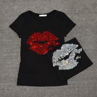ingrosso tee labbra-Top T Shirt Donna Estate Manica Corta Femminile Moda Sexy Lip Crystal T-Shirt O Collo In Cotone Morbido Signore Tee Shirt Y190123