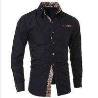 camisas de vestido dos homens da cópia do leopardo venda por atacado-Novo Homem Camisa de Manga Comprida Casual Sólida Estampa de Leopardo Collar Branco Preto Masculino Vestido Roupas Slim Fit Banquete Camisas Dos Homens