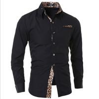 camisa de manga leopardo blanco al por mayor-Nuevo hombre camisa de manga larga casual sólido estampado de leopardo cuello blanco negro vestido de hombre Slim Fit banquete camisas de los hombres