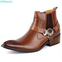 männer stiefeletten schwarz leder groihandel-QYFCIOUFU Fashion Boots Männer echtes Leder-Qualitäts-Kuh-Leder-Ankle Boots Buckle Schwarz Braun Mens Cowboy