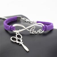 ciseaux d'amour achat en gros de-2019 vente chaude tressé violet cuir daim bracelets argent infini amour ciseaux cisailles pendentif bracelets punk wrap bijoux pour femmes hommes
