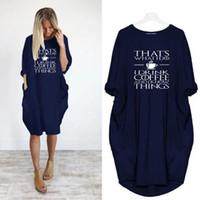 mektup baskısı artı boyutu elbise toptan satış-Kadınlar Artı boyutu Elbise Letter Baskılı Sonbahar Casual Gevşek Uzun kollu Mürettebat Boyun Elbiseler Moda Kadın Elbiseler