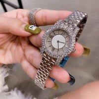 uhr kleid voller diamant großhandel-2019 Luxus Kristall voller Diamanten Damenuhr exquisite Edelstahlband Quarz Damenuhr modische elegante High-End-Kleid Bankett