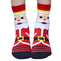 носки пол 3d оптовых-1 пара Женщины Девушки Рождество 3D Санта-Клаус Pattern Пол Хлопчатобумажные Носки Подарочные Держатели Рождественский Декор