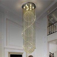 Villa Duplex Escalier LED Crystal Chandelier Salon Light Restaurant Lumière  Chambre d appareils d éclairage simple et moderne