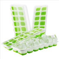 Wholesale ice cream blue for sale - Group buy Ice Cube Trays Food Grade Silicone Ice Cube Mold With Holes Covered Ice Cube Tray Set Blue Green Optional LQPYW1051