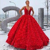 bej gül elbisesi toptan satış-Muhteşem Kırmızı Balo Gelinlik Modelleri V Yaka Saten Çiçek Gül Çiçekler Kat Uzunluk Lüks Abiye Parti Biçimsel Durum Gowns Wear