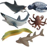 Wholesale hot selling diy toys resale online - Cross Border Hot Selling Model Marine Organism Solid Model Garage Kit Decoration Children Submarine Toy Octopus Hermit Crab