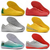 zapatos de fútbol de interior acc al por mayor-Botas de fútbol para hombre con bajo tobillo VAPORX 12CLUB IC TF Zapatillas exteriores Neymar ACC CR7 Mercurial Superfly Césped para interiores