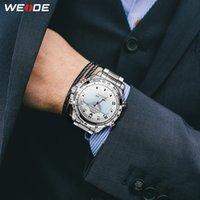 auto relógio do exército venda por atacado-Aço inoxidável WEIDE Homem Esporte LED Back Light visor analógico Alarme Auto Data militar do exército Strap relógio de quartzo Relógio Masculino