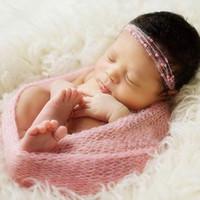 neugeborene wickeltücher großhandel-40 * 60cm Neugeborene fotografie requisiten babyverpackung baby fotografie neugeborenes schießen foto baby zubehör empfang decken mohair stretch stricken