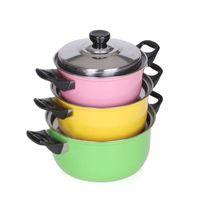 ollas de cocina de acero inoxidable al por mayor-3pcs Eco-Friendly / Set de acero inoxidable que cocina la Olla de gas cocina de inducción sopa Ollas seguro y de calidad antiadherente Pan Pot hogar Canning