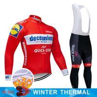 vellón uniforme al por mayor-Deceuninck fleece Jersey invierno cálido traje de ciclismo uniforme del equipo equipo de carreras