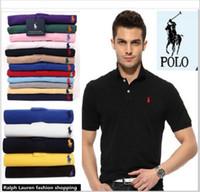 graue polohemden für männer großhandel-Klassisches Kurzarm-Polo-Shirt Männer Solide Baumwolle Atmungsaktiv Lässige Polo-Shirt Slim Men Navy Blau Grau Weiß Schwarz D2718
