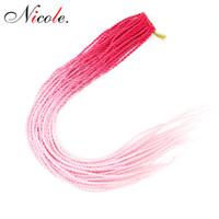 Wholesale twist hair for braiding resale online - Nicole Ombre Color Senegalese Twist Hair Crochet braiding Roots pack Kanekalon Fiber Synthetic Hair For Women