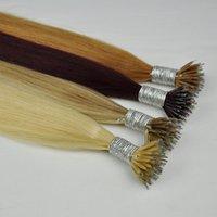 nano yüzükler için saç uzatmaları toptan satış-Çift Drawn ipek düz Brezilyalı Nano Halka Saç Uzantıları 1g iplikçik 100g Çok 20