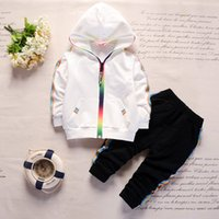Wholesale toddlers boys sports clothes resale online - Baby Boys Sport Tracksuits Toddler Clothing Set Kids Rainbow zipper Clothes Long Sleeve Jackets Fashion Cartoon Tracksuit Sets GGA3017