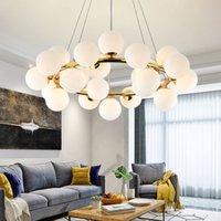 aydınlatma beyaz cam avizeci toptan satış-Sihirli Fasulye Modern Oturma Odası Yemek Odası Için LED Kolye Avize Işıkları G4 Altın / Siyah Beyaz Cam Avize Lamba Armatürleri