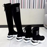 botas de tecido alto joelho flat venda por atacado-zapatos de mujer sobre o joelho botas Feminino tecido stretch botas altas da coxa 2019 Mulher sexy Flat Shoes longo Bota Feminina