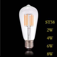 ST58 New Led Bulb 2w 4w 6w 8w B22 E27 Led Light Bulb 220V Vintage Filament Lamp For Anyway Lighting