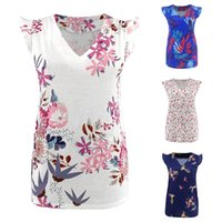 Wholesale nursing clothes for sale - Group buy Maternity Pregnant Blouses Floral Printing Pullover Top Clothing Plus Size V Neck Lotus Leaf Sleeves Shirts Non nursing Lady Summer Blouse